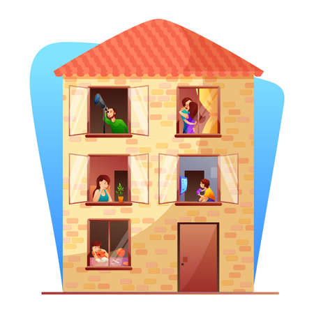 Residential multi storey building flat vector illustration. Neighbors cartoon characters. Apartment house with residents isolated design element. Everyday life in open windows, balconies Vettoriali