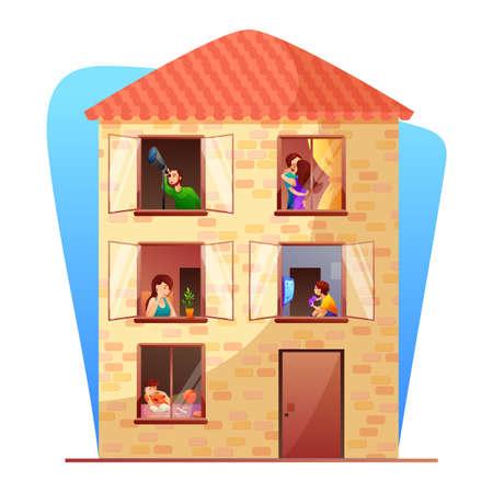 Residenziale edificio a più piani piatto illustrazione vettoriale. Personaggi dei cartoni animati dei vicini. Palazzina con elemento di design isolato residenti. La vita quotidiana in finestre aperte, balconi