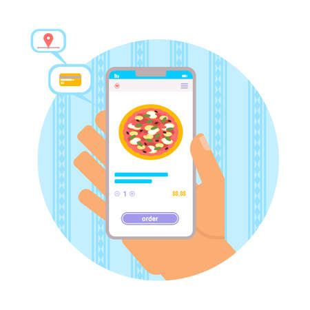 Pizza delivery mobile application vector illustration. Hand holding smartphone cartoon drawing. Food delivery customer service. Online order process. Screen with menu select button 일러스트