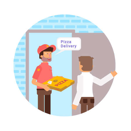 Italian pizza delivery vector illustration. Customer taking food at door color flat drawing. Courier in uniform bringing order cartoon character. Food delivery service isolated design element 일러스트
