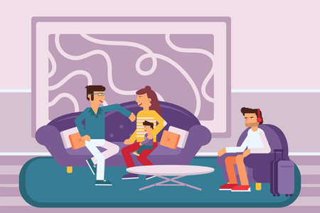 People at hotel lobby flat vector illustration. Men and woman in lounge zone cartoon characters. Couple with little child talking, young man sitting in armchair. Clients waiting for registration