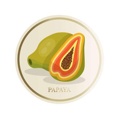 Papaya flat circle sticker isolated on white background