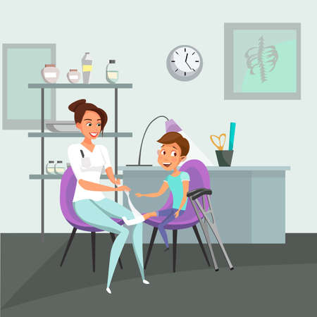 Traumatology clinic visit flat vector illustration