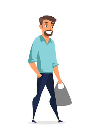 Young handsome man flat vector illustration isolated on white background Illustration