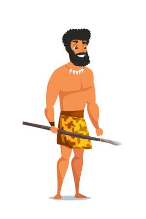 Stone age man with spear flat vector illustration