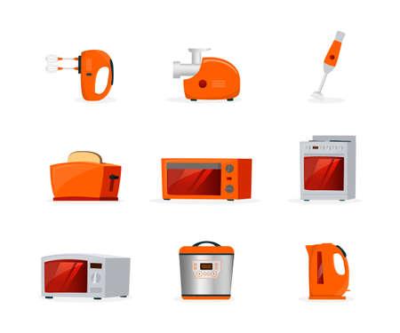Kitchen appliances flat vector illustrations set Ilustração