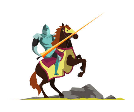 Knight attacking on horseback vector illustration