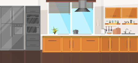 Modern cozy kitchen room interior illustration