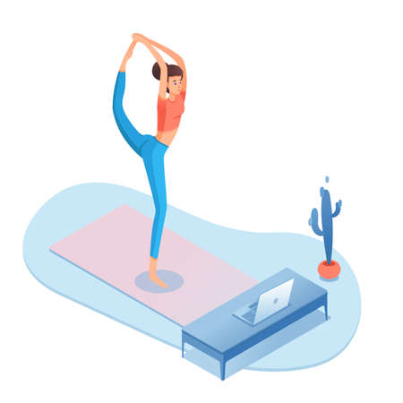 Home yoga, pilates isometric vector illustration