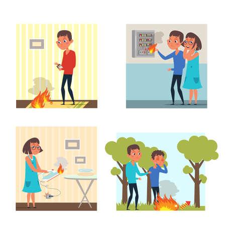 Beware of fire flat illustrations set
