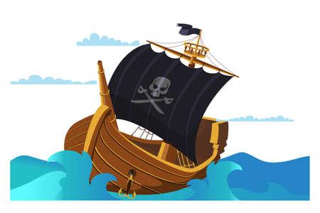 Pirate ship flat vector illustration