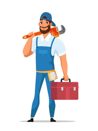 Man plumber with wrench and tools box isolated
