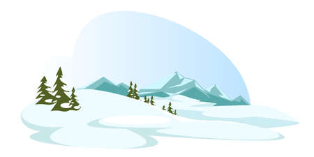 Cartoon highlands and forest in winter nature
