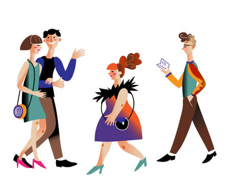 Theatergoers types flat vector characters set