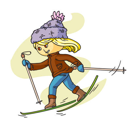 Little child skiing flat vector illustration. Smiling kid in warm clothes cartoon character. Happy childhood activity, winter holidays. Active outdoor pastime, sports leisure, seasonal recreation.