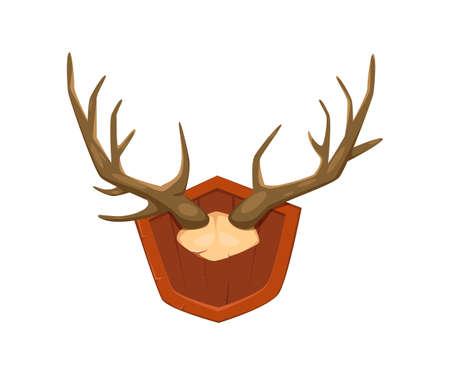 Deer horns on wooden board knight item on white