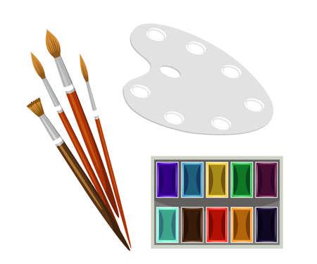 Painting equipment flat vector set