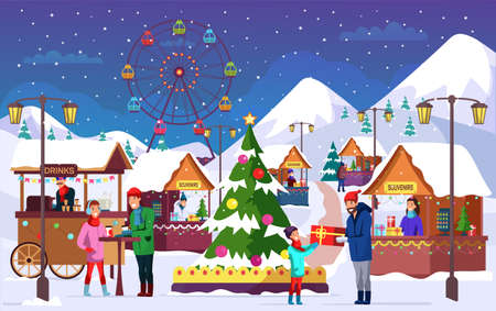 Leute an der flachen Vektorillustration des Weihnachtsmarktes. Outdoor-Unterhaltungsfestival, Feiertagsfeier. Vergnügungspark. Familien-Zeichentrickfiguren auf der Kirmes. Vektorgrafik