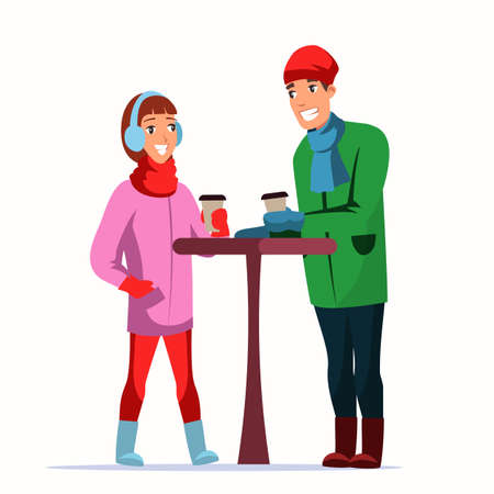 Couple with coffee at Xmas fair flat characters