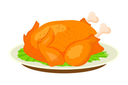 Fried, roasted chicken flat vector illustration Ilustrace
