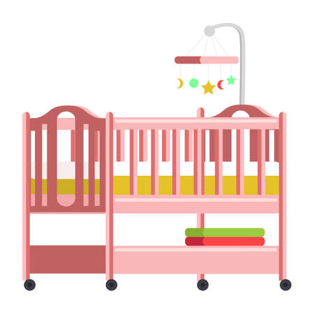 Babybett, Wiege flache Vektorillustration Vektorgrafik