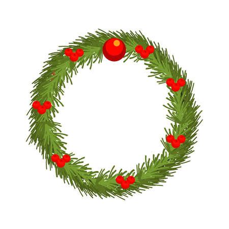 Christmas wreath flat vector illustration  イラスト・ベクター素材