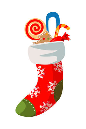 Stocking with sweets flat vector illustrations
