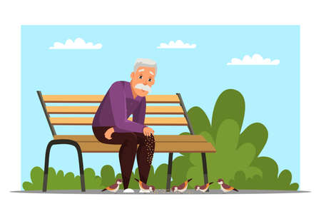 Old man feeding birds flat vector illustration  イラスト・ベクター素材