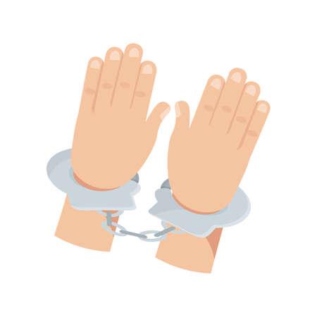 Hands in handcuffs flat vector illustration