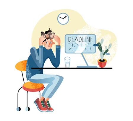 Stressful deadline flat vector illustration  イラスト・ベクター素材