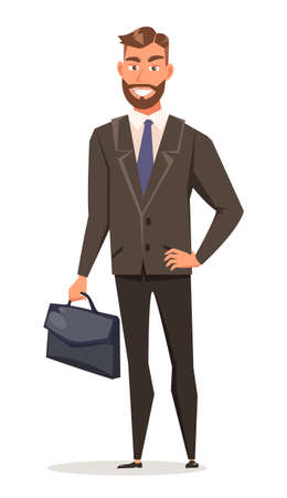 Businessman in suit flat vector illustration