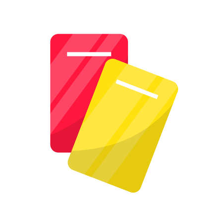 Yellow and red card flat vector illustration