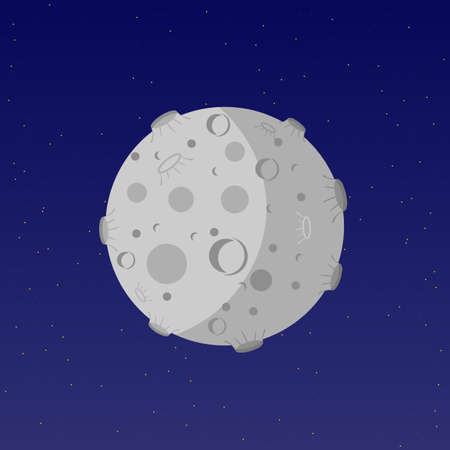 Moon flat vector illustration