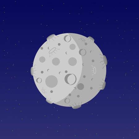 Moon flat vector illustration