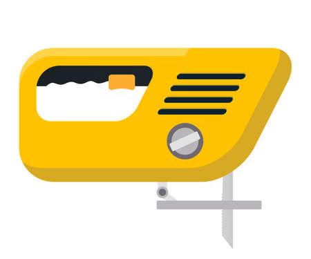 Electric jigsaw flat vector illustration