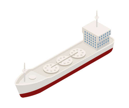 Container ship isometric vector illustration