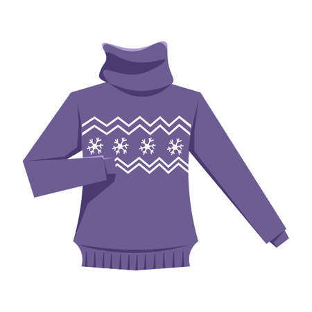 Knitted sweater flat vector illustration
