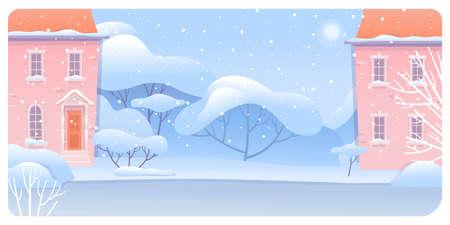 Winter urban landscape flat vector illustration  イラスト・ベクター素材