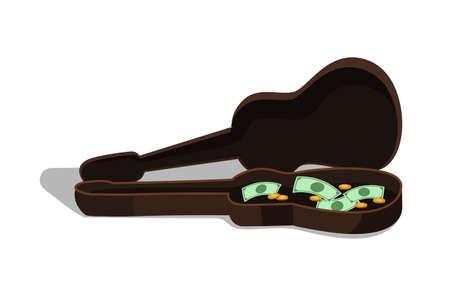 Money in guitar case flat vector illustration