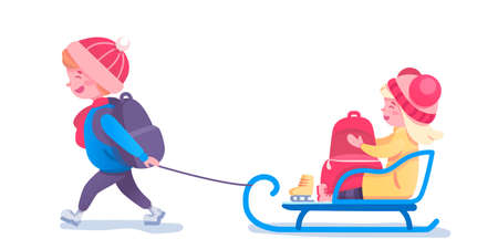 Happy kids sledding flat vector illustration  イラスト・ベクター素材