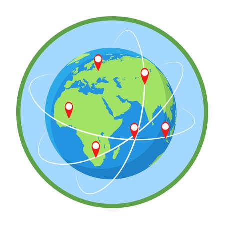 Worldwide routes flat vector illustration