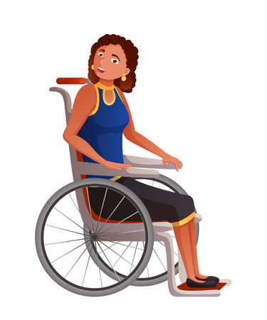 Young woman in wheelchair flat vector illustration. Sad disabled, handicapped girl cartoon character. Lonely depressed invalid with legs disability on outdoor stroll. Trauma rehabilitation.  イラスト・ベクター素材