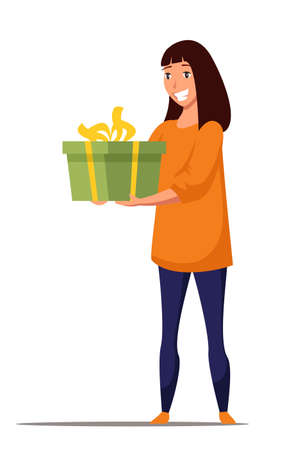 Young woman with gift box flat vector illustration