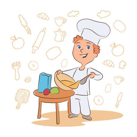Kid cooking dish cartoon vector character