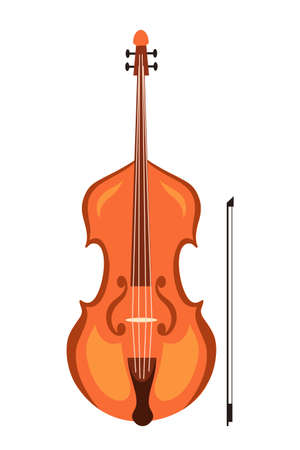 Violin and bow flat vector illustration