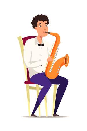 Saxophonist on chair flat vector illustration