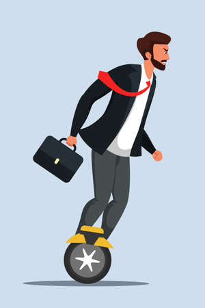 Businessman riding electric scooter illustration