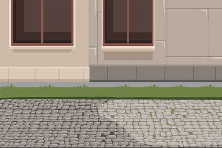 Town building exterior and pavement background  イラスト・ベクター素材