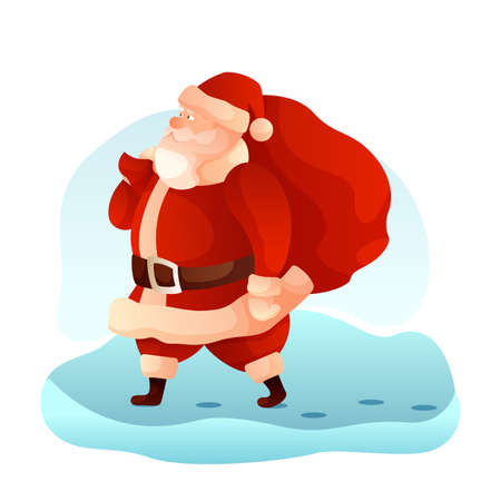 Santa Claus carrying sack flat vector illustration