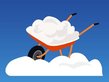 Snow in wheelbarrow flat vector illustration